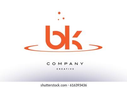 BK B K creative orange swoosh dots alphabet company letter logo design vector icon template