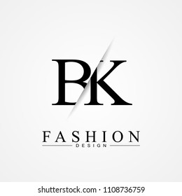 BK B K cutting and linked letter logo icon with paper cut in the middle. Creative monogram logo design. Fashion icon design template.