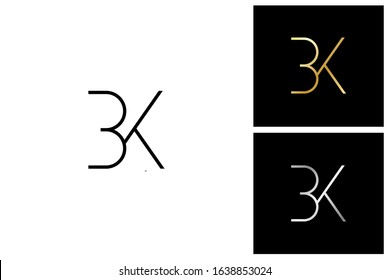 bk, b and k, initial letter logo templates