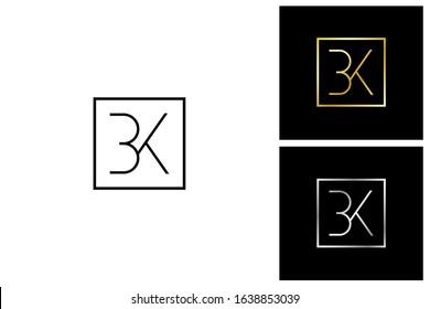 bk, b and k, initial letter logo templates Square Framed Letter Logo Design