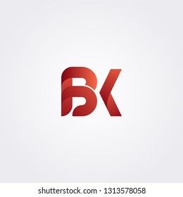 BK B K letter logo collection combining two letter. Initial logo concept.