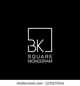 BK B K Logo design with square frame line art. vector illustration