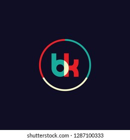 BK B K logo design with colorful circle frame. Modern logo template with bright color concept. vector illustration