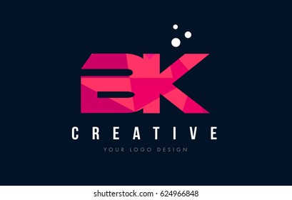 BK B K Purple Letter Logo Design with Low Poly Pink Triangles Concept