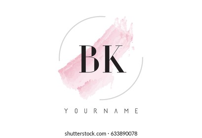 BK B K Watercolor Letter Logo Design with Circular Shape and Pastel Pink Brush.