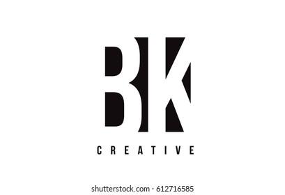 BK B K White Letter Logo Design with Black Square Vector Illustration Template.