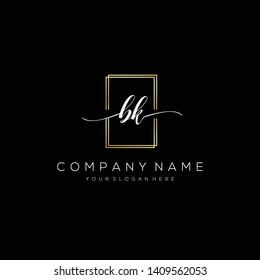 BK handwriting initial logo template vector.