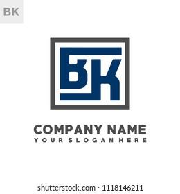 BK initial box letter logo template vector