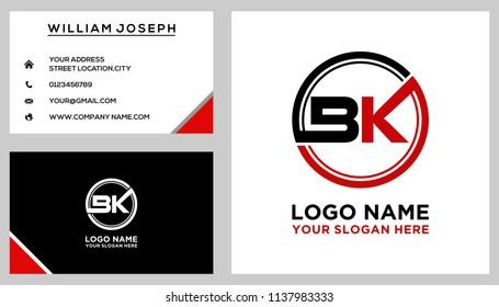 BK initial circle logo template vector