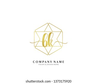 BK initial handwriting logo geometric template vector