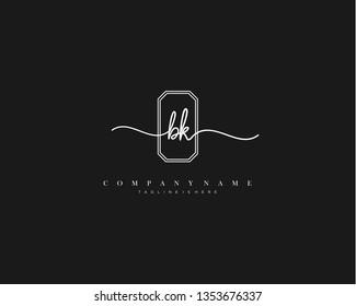 BK initial handwriting logo template vector