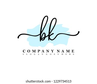 BK Initial handwriting logo vector