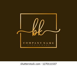 BK Initial handwriting square minimalist logo vector