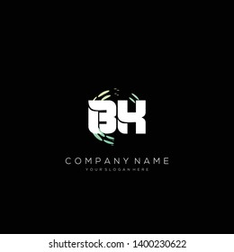 BK initial letter abstract logo design vector.