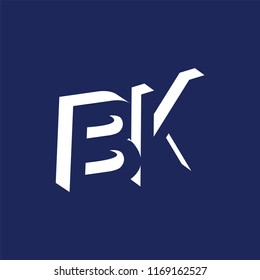 BK initial letter with negative space logo icon vector template