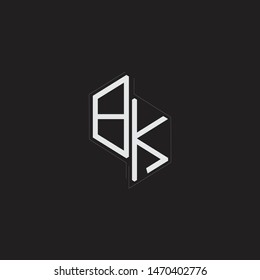 BK Initial Letters logo monogram with up to down style isolated on black background
