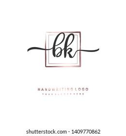 BK initial signature logo. handwriting logo template vector,