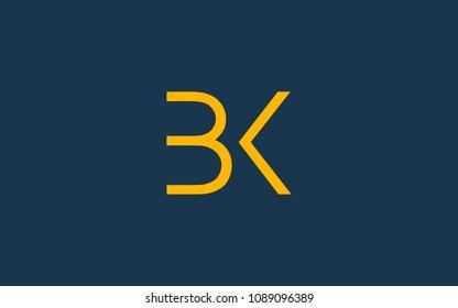 BK KB Letter Initial Logo Design Template