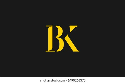 BK Letter Logo Design with Creative Modern Trendy Typography