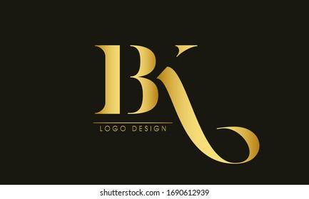 BK Letter Logo Design Template Vector