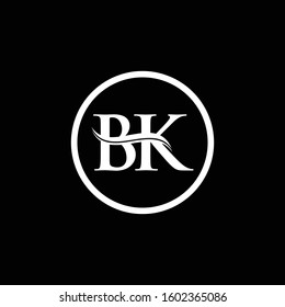 BK Letter Logo Design Vector With Black And White Color. BK Logo Design