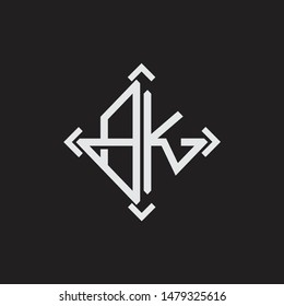 BK Logo Abstrac letter Monogram with Arrow in every side isolated on black background