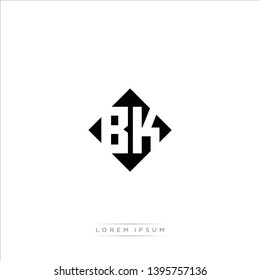 BK Logo Capital Modern of Negative Space Square Designs Template with White Background