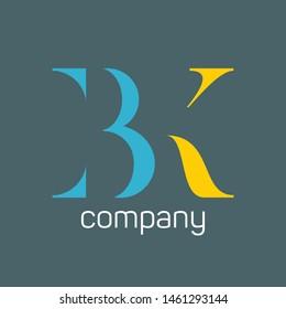 BK logo design. Company logo. Monogram. Letters B and K.
