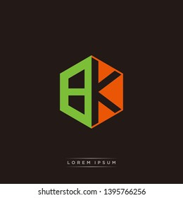 BK Logo Initial Monogram Negative Space Design Template With Orange and Green color