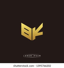 BK Logo Letter Initial Logo Designs Templete with Gold and Black Background