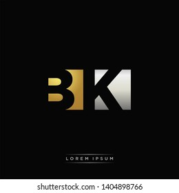 BK Logo Letter with Negative space and Gold combination silver color