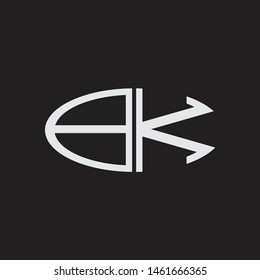 BK Logo letter oval monogram design template with black and white colors
