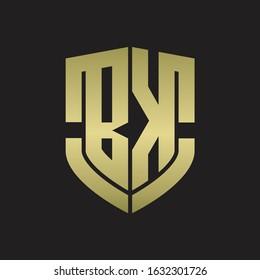 BK Logo monogram with emblem shield shape design isolated gold colors on black background