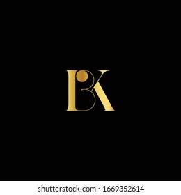 BK Logo. Vector Graphic Branding Letter Element. Dark Background