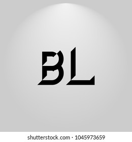 BL Abstract Black Letters with white and gray background in highlight