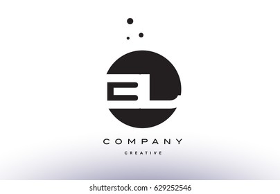 BL B L alphabet company letter logo design vector icon template simple black white circle dot dots creative abstract