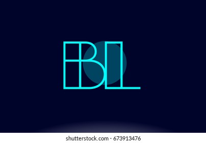 bl b l blue line circle letter logo alphabet creative company vector icon design template