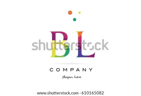 Bl B L Creative Rainbow Colors Stock Vector Royalty Free 610165082