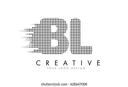BL B L Letter Logo Design with Black Dots and Bubble Trails.