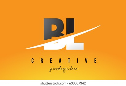 BL B L Letter Modern Logo Design with Swoosh Cutting the Middle Letters and Yellow Background.