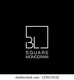 BL B L Logo design with square frame line art. vector illustration