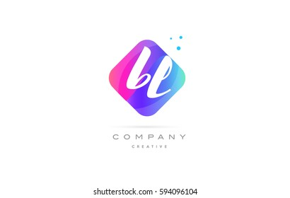 bl b l  pink blue rhombus abstract 3d alphabet company letter text logo hand writting written design vector icon template
