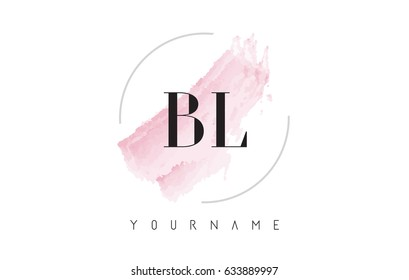 BL B L Watercolor Letter Logo Design with Circular Shape and Pastel Pink Brush.