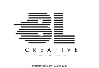 BL B L Zebra Letter Logo Design with Black and White Stripes Vector