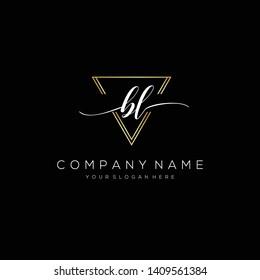 BL handwriting initial logo template vector.