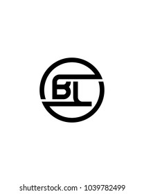 BL initial circle logo template vector