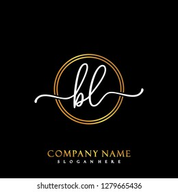 BL Initial Handwriting logo template vector