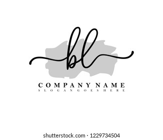 BL Initial handwriting logo vector