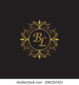 BL Initial logo. Ornament ampersand monogram golden logo black background