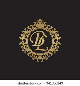 BL initial luxury ornament monogram logo